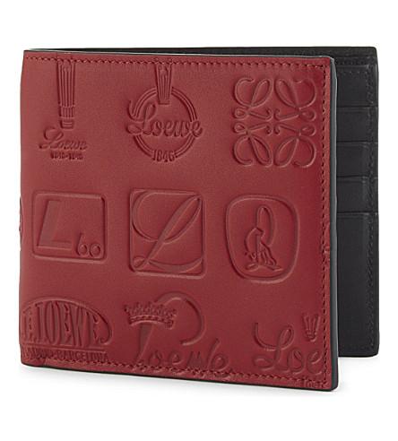 LOEWE Loewe Signature bi-fold wallet (Rouge+black
