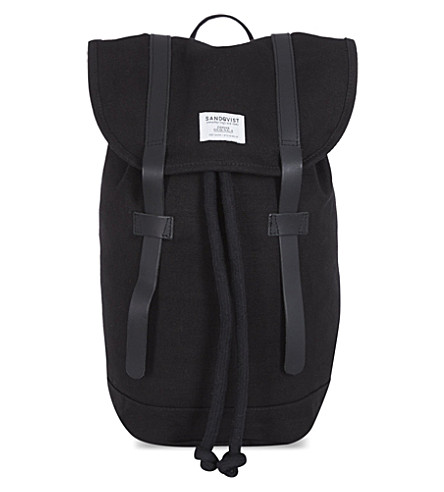 SANDQVIST Sand Stig canvas backpack (Black