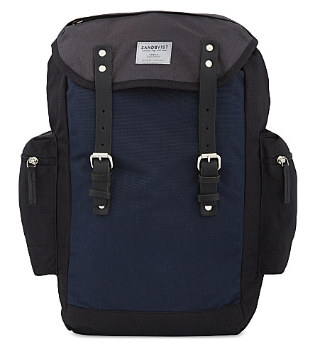SANDQVIST Lars-Goran canvas backpack (Blk+blue+gry