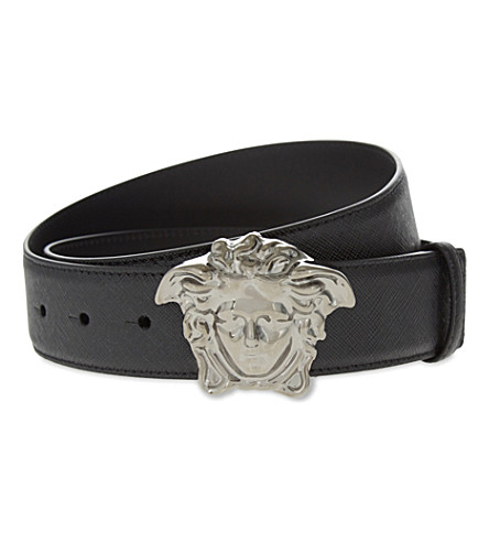 VERSACE Medusa leather belt (Black+/+ruthenium