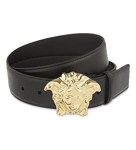 VERSACE Medusa buckle leather belt (Black+/+gold