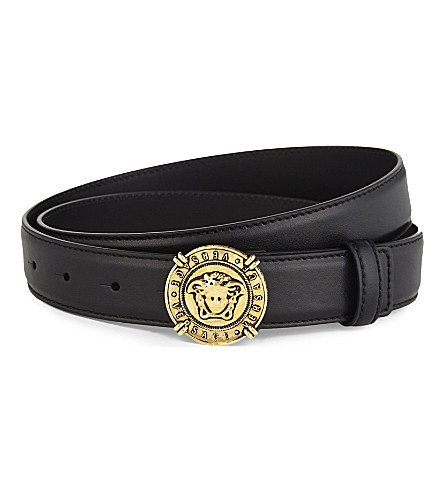 Medusa logo buckle leather belt