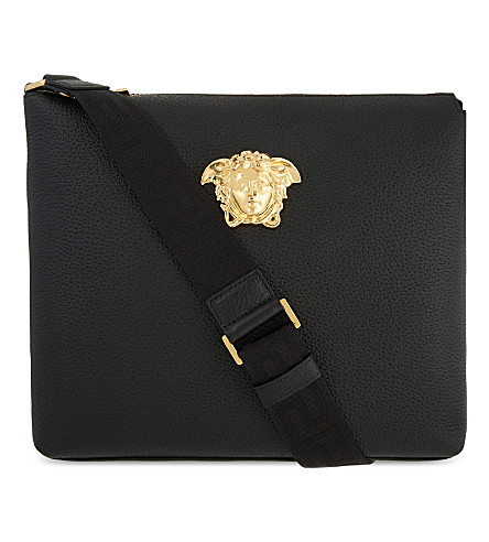 VERSACE Medusa grained leather messenger (Black+/+gold