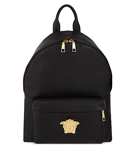VERSACE Medusa leather backpack (Black / gold