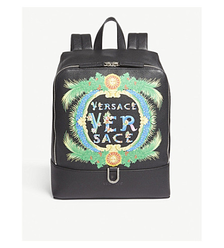 VERSACE Miami grained leather backpack (Black+green