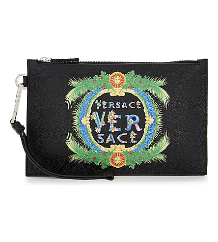 VERSACE Miami leather pouch (Black+green