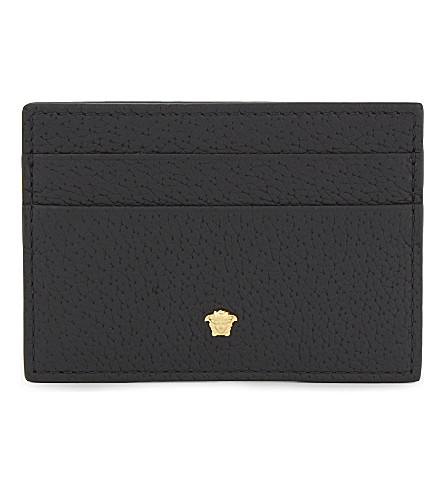 VERSACE Mini Medusa grained leather card holder (Black+gold
