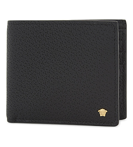 VERSACE 美杜莎皮革皮夹钱包 (黑色 + 金色