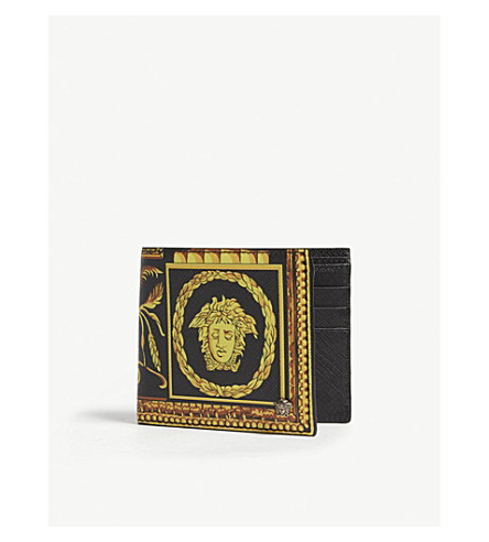 VERSACE Cornici saffiano leather wallet (Gold+black