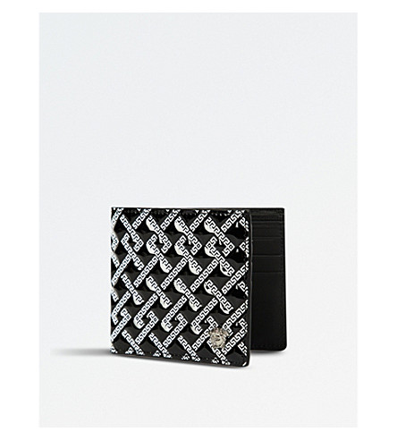 VERSACE City embossed leather wallet (Black+white