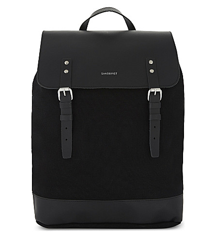 SANDQVIST Hege canvas and leather backpack (Black