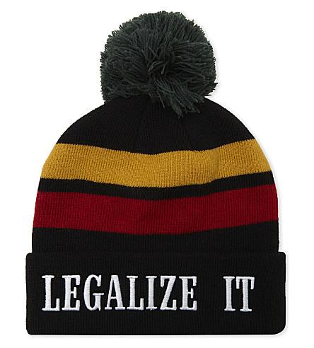 PALM ANGELS Legalize It striped beanie (Black+multi