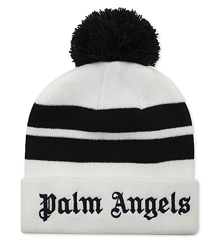 PALM ANGELS Striped bobble beanie (White+black