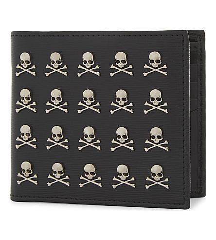 PHILIPP PLEIN Menadel skull textured leather wallet (Black/nickel