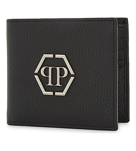 PHILIPP PLEIN Mitzrael grained leather wallet (Black/nickel