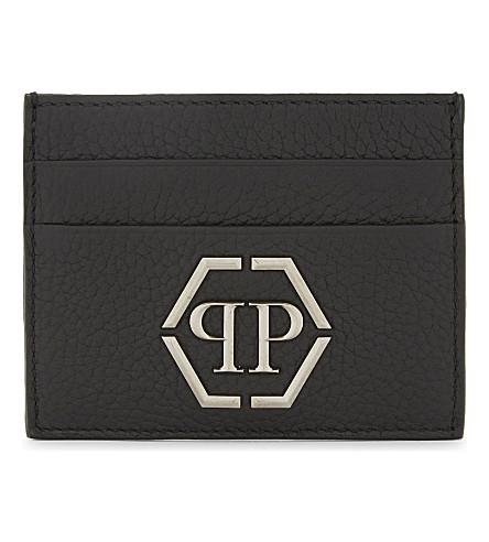 PHILIPP PLEIN Umabel leather card holder (Black/nickel