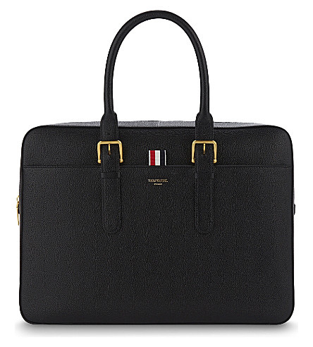 THOM BROWNE Pebbled leather briefcase (Black