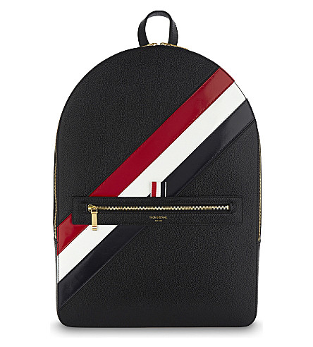 THOM BROWNE Diagonal striped pebbled leather backpack (Black