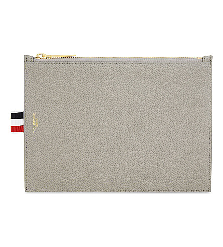 THOM BROWNE Grained leather pouch (Med+grey