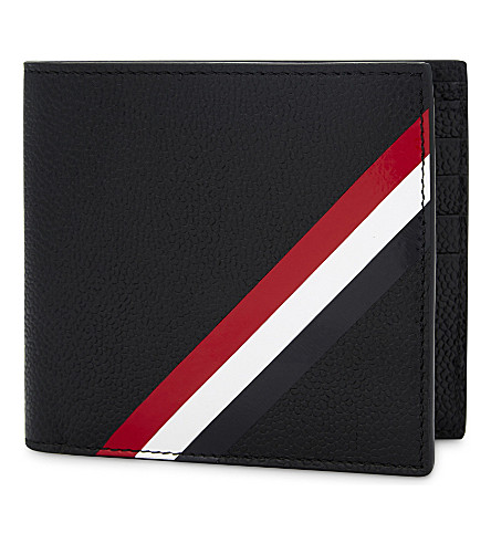 THOM BROWNE Diagonal stripe grained leather wallet (Black