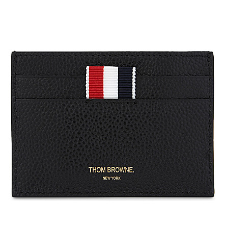 THOM BROWNE Diagonal stripe grained leather card holder (Black