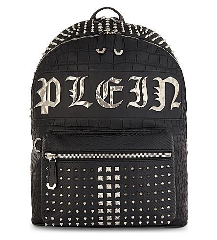 PHILIPP PLEIN Arizona croc-embossed backpack (Black/nickel