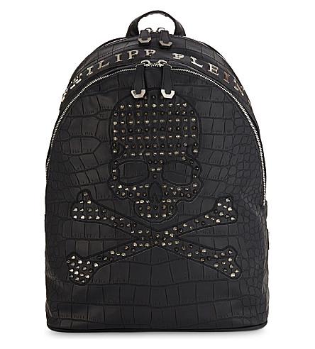 PHILIPP PLEIN Arkansas croc-embossed backpack (Black/nickel