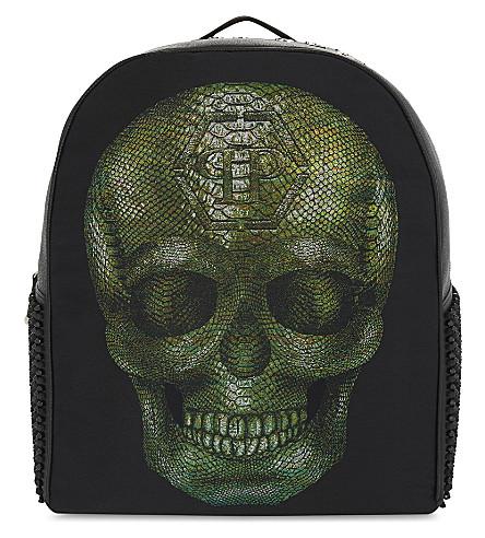 PHILIPP PLEIN Skull-print leather backpack (Green+black