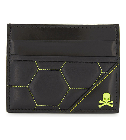 PHILIPP PLEIN Above the flood leather card holder (Black+yellow
