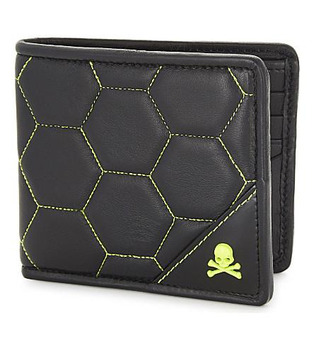 PHILIPP PLEIN 在风暴之下皮革皮夹钱包 (黑 + 黄色