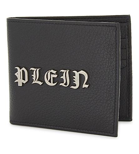 PHILIPP PLEIN 哥特式皮革皮夹钱包 (黑色