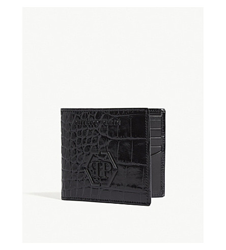 PHILIPP PLEIN Smith logo crocodile-embossed leather wallet