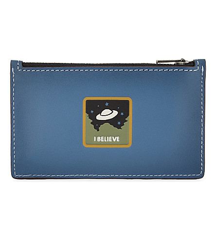 COACH UFO patch leather card holder (Blue