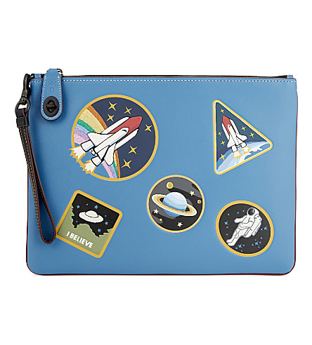 COACH NASA Space leather pouch (Blue
