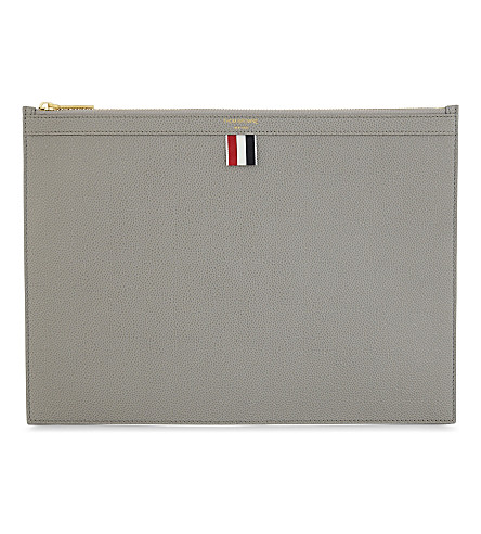 THOM BROWNE Medium zipped leather document holder (Med+grey