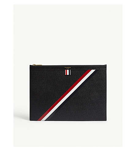 THOM BROWNE Diagonal-stripe medium pebbled leather pouch (Blk+red+wht