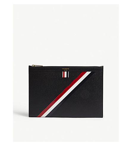 THOM BROWNE Diagonal-stripe small pebbled leather pouch (Blk+red+wht