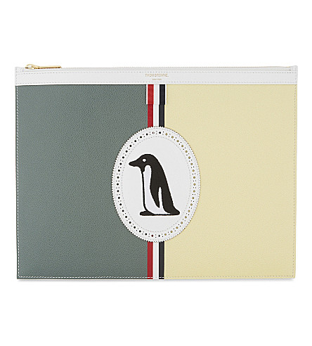 THOM BROWNE Grained leather pouch (Green