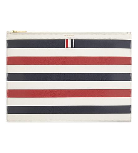 THOM BROWNE Medium leather striped print document wallet (Rwbwht