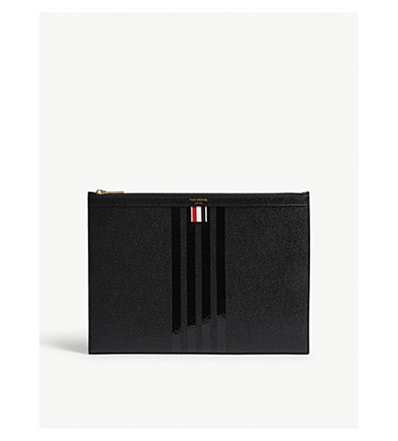 THOM BROWNE Tonal stripe medium leather pouch (Blk+blk