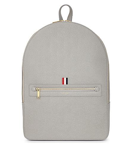 THOM BROWNE Pebbled leather backpack (Med+grey