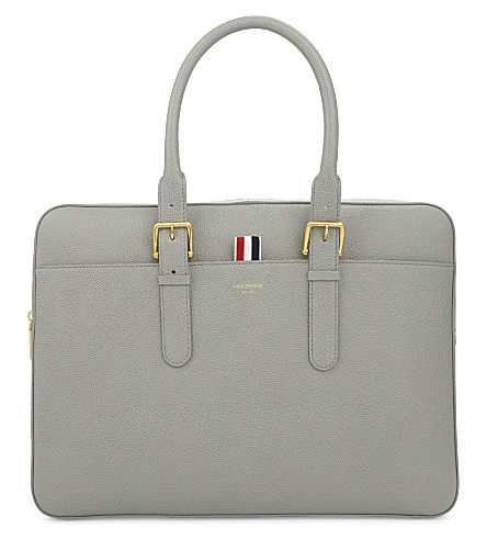 THOM BROWNE Grained leather briefcase (Med+grey