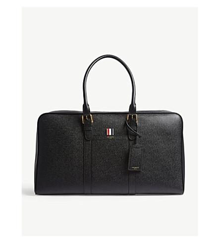THOM BROWNE Pebbled leather large holdall bag (Black