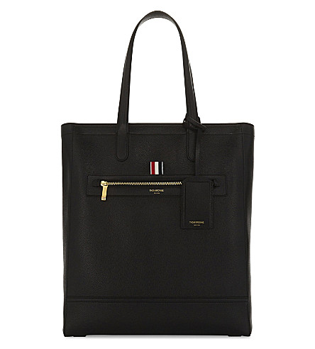 THOM BROWNE Pebbled leather tote (Black