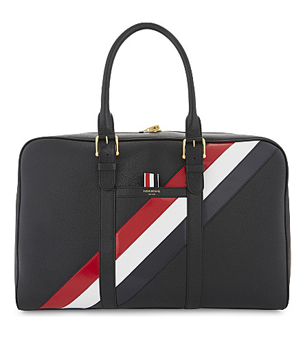 THOM BROWNE Striped leather holdall (Black