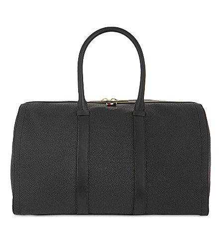 THOM BROWNE Pebbled leather holdall (Black