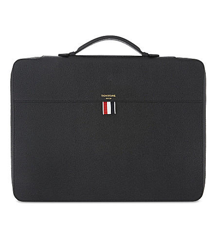 THOM BROWNE Grained leather briefcase (Black