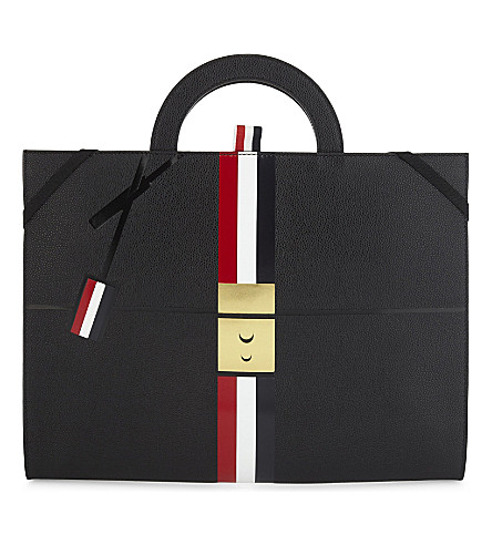 THOM BROWNE Briefcase trompe l'oeil leather tote (Black