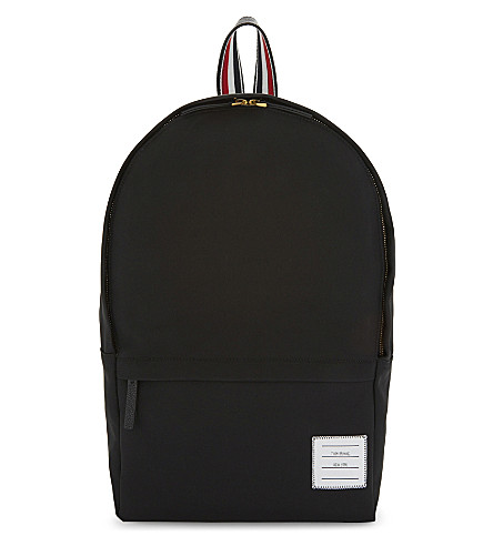 THOM BROWNE Backpack with intarsia stripe detail (Black