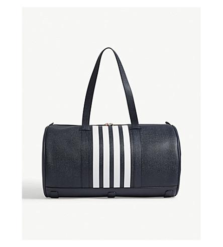 THOM BROWNE Striped pebbled leather barrel bag (Navy
